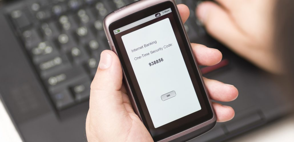 One time security code arrives on a smartphone
